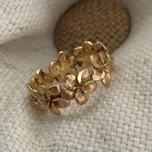 14K Hawaiian Plumeria Gold Ring